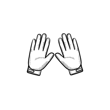 Motorcycle gloves hand drawn outline doodle icon. Motorcycle accessories, sport protective gloves concept. Vector sketch illustration for print, web, mobile and infographics on white background.