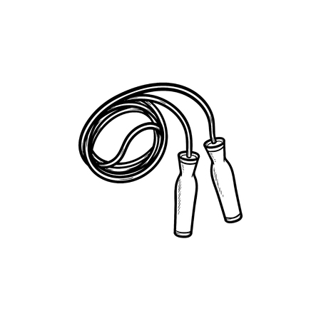 Jumping rope hand drawn outline doodle icon. Sport exercise, gym and fitness equipment, health concept. Vector sketch illustration for print, web, mobile and infographics on white background.