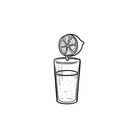 Glass of fresh lemon juice hand drawn outline doodle icon. Citrus juice, fresh organic drink, health concept. Vector sketch illustration for print, web, mobile and infographics on white background.