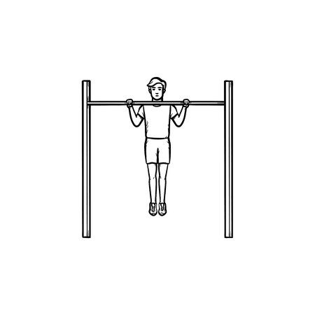 Man doing pull-ups on horizontal bar hand drawn outline doodle icon. Exercises, training and workout concept. Vector sketch illustration for print, web, mobile and infographics on white background.