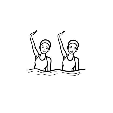 Paired performance synchronized swimming. Female synhronized swimmers, swimmers teamwork, swimming pool concept. Vector sketch illustration for print, web, mobile and infographics on white background.