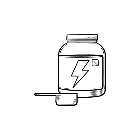 Sport nutrition container with label hand drawn outline doodle icon. Whey protein, food supplement concept. Vector sketch illustration for print, web, mobile and infographics on white background.