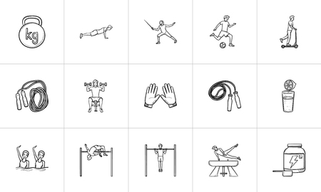 Sports and workout hand drawn outline doodle icon set. Outline doodle icon set for print, web, mobile and infographics. Fitness, equipment vector sketch illustration set isolated on white background.
