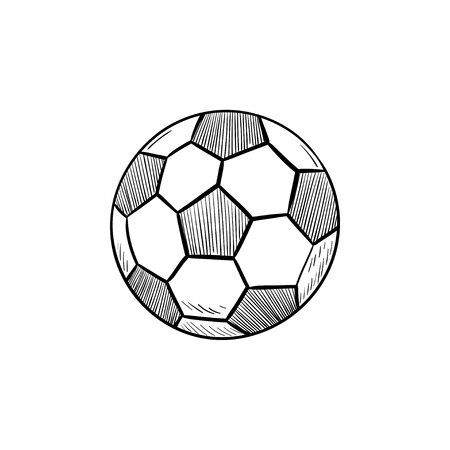 Soccer ball hand drawn outline doodle icon. Soccer competition, football equipment, game ball concept. Vector sketch illustration for print, web, mobile and infographics on white background. Illustration