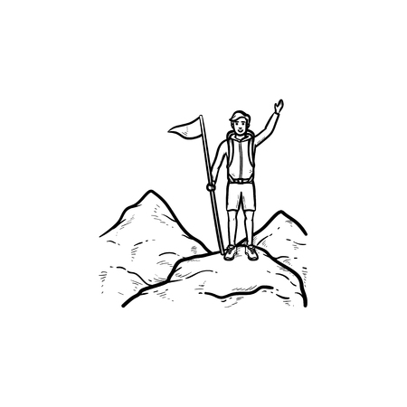 Climber with flag standing on top of mountain hand drawn outline doodle icon. Achievement, challenge concept. Vector sketch illustration for print, web, mobile and infographics on white background.