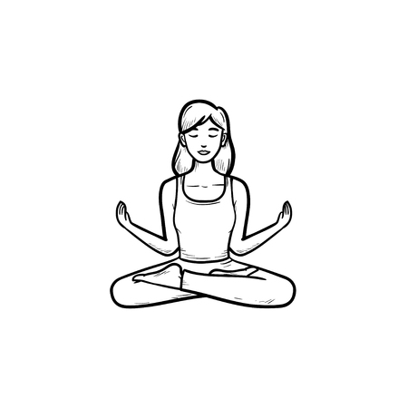 Woman sitting in yoga lotus pose hand drawn outline doodle icon. Healthy lifesyle, wellness, relaxation concept. Vector sketch illustration for print, web, mobile and infographics on white background. Illustration