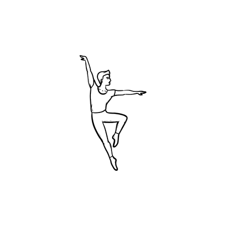 Dancing man hand drawn outline doodle icon. Dance performance, motion and balance, ballet dancing concept. Vector sketch illustration for print, web, mobile and infographics on white background.