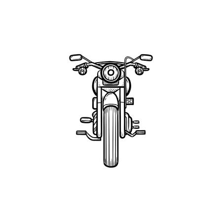 Front of motorbike hand drawn outline doodle icon. Speed ride, motorcycle sport, fast transport concept. Vector sketch illustration for print, web, mobile and infographics on white background.
