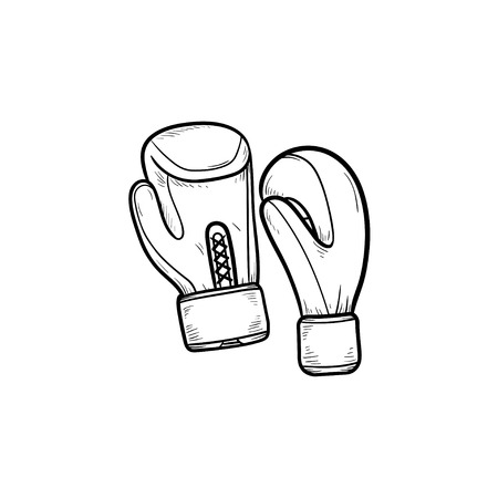 Boxing gloves hand drawn outline doodle icon. Boxing equipment, sportswear, fight protection concept. Vector sketch illustration for print, web, mobile and infographics on white background.
