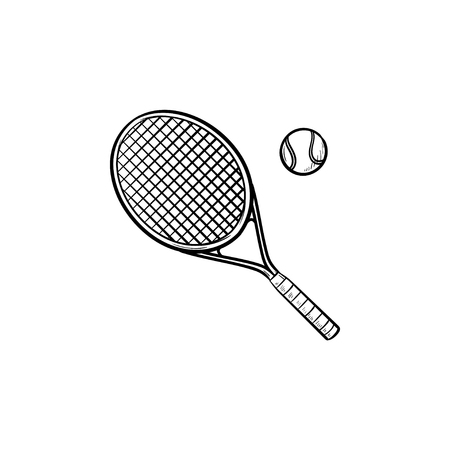 Tennis racket and tennis ball hand drawn outline doodle icon. Tennis court, equipment, sport tournament concept. Vector sketch illustration for print, web, mobile and infographics on white background.