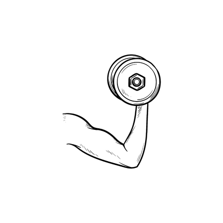 Arm with dumbbell hand drawn outline doodle icon. Bodybuilding and weightling, biceps muscle concept. Vector sketch illustration for print, web, mobile and infographics on white background. Illustration