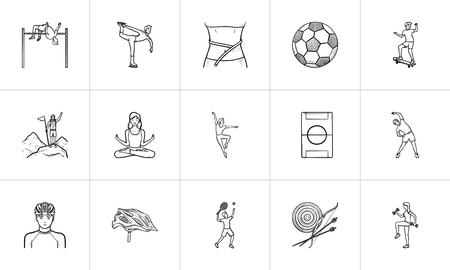 Sports and gym hand drawn outline doodle icon set. Outline doodle icon set for print, web, mobile and infographics. Fitness and equipment vector sketch illustration set isolated on white background. Illustration
