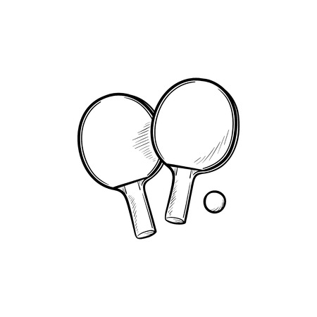 Tennis table rackets and ball hand drawn outline doodle icon. Table tennis competition, tennis table game concept. Vector sketch illustration for print, web, mobile and infographics on white background. Illustration