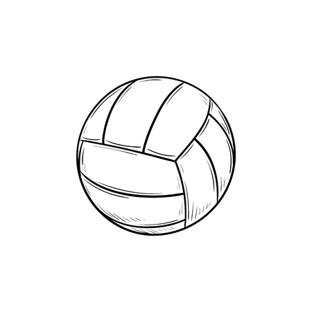 Ball for playing volleyball hand drawn outline doodle icon. Valleyball equipment, team sport activity concept. Vector sketch illustration for print, web, mobile and infographics on white background.