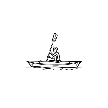 Man riding canoe hand drawn outline doodle icon. Water sport competition, kayaking, boating concept. Vector sketch illustration for print, web, mobile and infographics on white background.