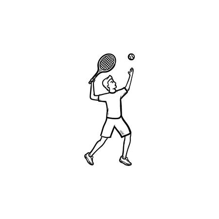 Man playing big tennis hand drawn outline doodle icon. Big tennis tournament, ball and racket concept. Vector sketch illustration for print, web, mobile and infographics on white background.