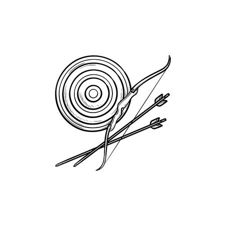 Doel, pijl en boog hand getrokken schets doodle pictogram. Boogschieten sport, bullseye en target board concept. Schets vectorillustratie voor print, web, mobiel en infographics op witte achtergrond. Vector Illustratie
