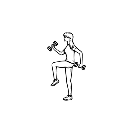 Woman training with dumbbells hand drawn outline doodle icon. Fitness in gym, exercises with dumbbells concept. Vector sketch illustration for print, web, mobile and infographics on white background. Illustration