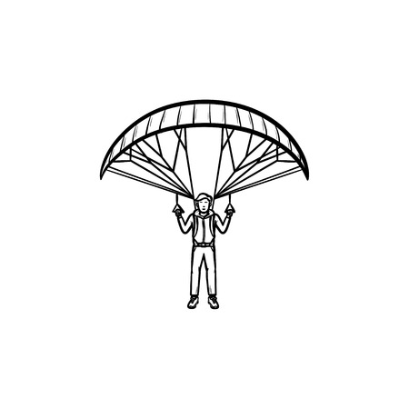 Skydiver flying with parachute hand drawn outline doodle icon. Skydiving and parachuting, gliding concept. Vector sketch illustration for print, web, mobile and infographics on white background