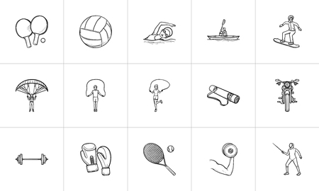 Sport and equipment hand drawn outline doodle icon set. Outline doodle icon set for print, web, mobile and infographics. Gym equipment vector sketch illustration set isolated on white background. Ilustrace