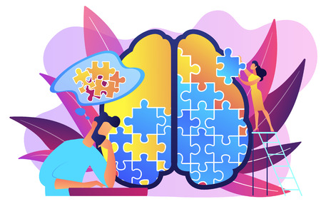 Man doing human brain puzzle. Psychology and psychotherapy session, mental healing and wellbeing, therapist counselling mental illness and difficulties violet palette. Vector isolated illustration. Stock Illustratie