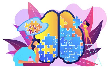 Hombre haciendo rompecabezas del cerebro humano. Sesión de psicología y psicoterapia, sanación y bienestar mental, terapeuta de asesoramiento en enfermedades y dificultades mentales paleta violeta. Ilustración de vector aislado.