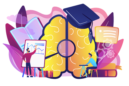 Brain with magnigier and academic cap and user learning. Learning style, learning and brain process, memory and knowledge, education and training concept, violet palette. Vector isolated illustration. Illustration