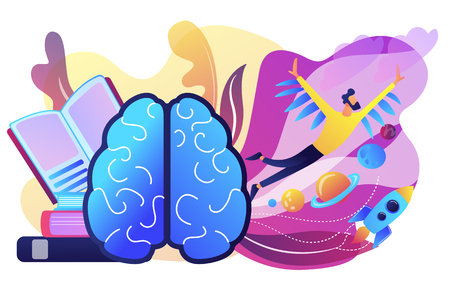 Open book, brain and user flying in space among planets. Imagination and vision, creative thinking, ideas and fantasy, motivation and inspiration concept, violet palette. Vector isolated illustration.