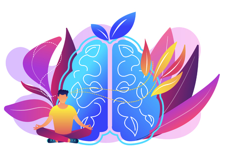 User practicing mindfulness meditation in lotus pose. Mindful meditating, mental calmness and self-consciousness, focusing and releasing stress concept, violet palette. Vector isolated illustration. Vettoriali