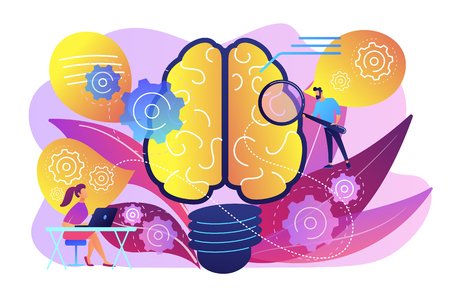 Human brain with gears thinking and users. Creating ideas and thoughts, brainstorming, creativity and business ideas, thinking and invention concept, violet palette. Vector isolated illustration.