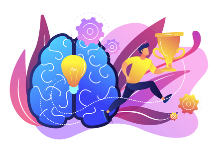 Brain with bulb and user jumps carrying cup. Challenge and move for success, confidence and winning competition, motivation and goals achievement concept, violet palette. Vector isolated illustration.