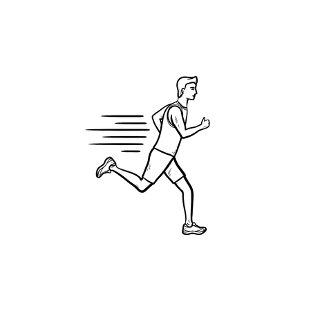 Running man hand drawn outline doodle icon. Marathon run, sprint athlete, speed training and workout concept. Vector sketch illustration for print, web, mobile and infographics on white background.