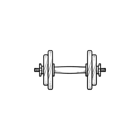 Dumbbell for gym hand drawn outline doodle icon. Muscle lifting, fitness dumbbell, gym equipment concept. Vector sketch illustration for print, web, mobile and infographics on white background.