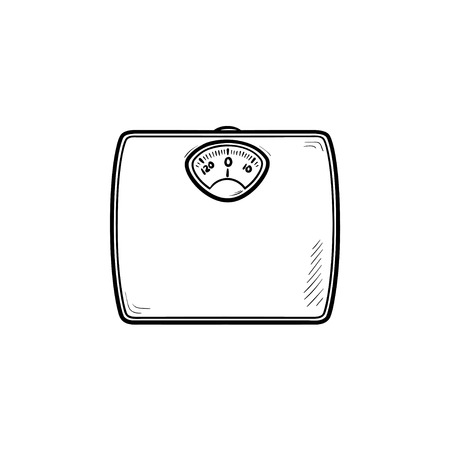 Weight scale hand drawn outline doodle icon. Dieting and health, weight measure device, overweight concept. Vector sketch illustration for print, web, mobile and infographics on white background.