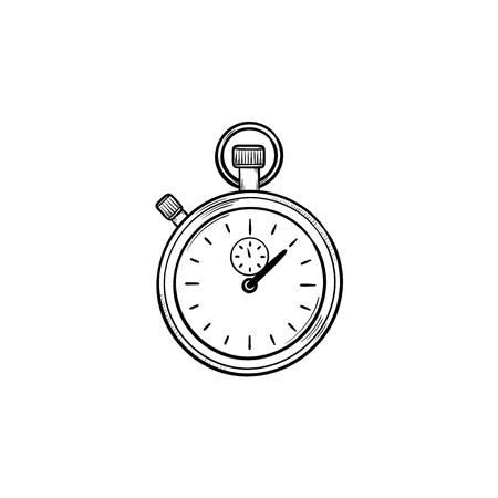 Stopwatch hand drawn outline doodle icon. Time measurement, time interval and countdown, deadline concept. Vector sketch illustration for print, web, mobile and infographics on white background.