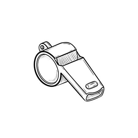 Fluitje hand getrokken schets doodle pictogram. Competitie, voetbalwedstrijduitrusting, rechter en scheidsrechterfluitconcept. Schets vectorillustratie voor print, web, mobiel en infographics op witte achtergrond.