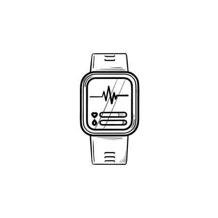 Smartwatch hand drawn outline doodle icon. Digital watch, internet gadget, fitness workout accessory concept. Vector sketch illustration for print, web, mobile and infographics on white background.