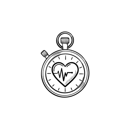 Stopwatch with heart symbol hand drawn outline doodle icon. Accurate watch, time and sport health concept. Vector sketch illustration for print, web, mobile and infographics on white background.