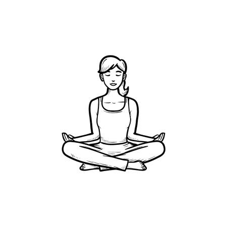 Woman sitting in yoga lotus pose hand drawn outline doodle icon. Meditation, wellness, relaxation concept. Vector sketch illustration for print, web, mobile and infographics on white background.