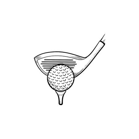 Golfclub und Ball auf Abschlag Hand gezeichnete Umriss-Doodle-Symbol. Satz Golfausrüstung, Golfwettbewerbskonzept. Vektorskizzenillustration für Print, Web, Mobile und Infografiken auf weißem Hintergrund.