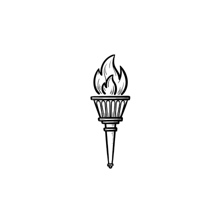 torch hand drawn outline doodle icon. games, success symbol, winner and triumph flame concept. Vector sketch illustration for print, web, mobile and infographics on white background.