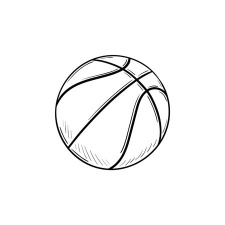 Basketball ball hand drawn outline doodle icon. Basketball equipment, team ball game, sport activity concept. Vector sketch illustration for print, web, mobile and infographics on white background.