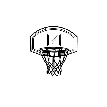 Basketballkorb und Netz handgezeichnete Umriss-Doodle-Symbol. Basketballausrüstung, Spielziel, Wettbewerbskonzept. Vektorskizzenillustration für Print, Web, Mobile und Infografiken auf weißem Hintergrund.