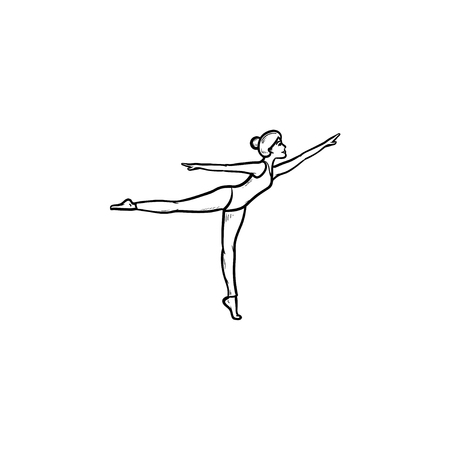 Gymnast woman dancing hand drawn outline doodle icon. Female dancer, fit slim girl, artistic gymnastics concept. Vector sketch illustration for print, web, mobile and infographics on white background.