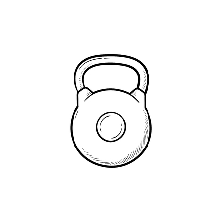 Gym kettlebell hand drawn outline doodle icon. Weightlifting, fitness and gym equipment, bodybuilding concept. Vector sketch illustration for print, web, mobile and infographics on white background.