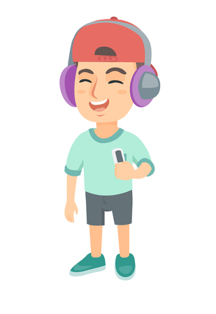 Caucasian boy enjoying music in headphones. Little boy in earphones listening to music with a music player. Vector sketch cartoon illustration isolated on white background. Ilustrace