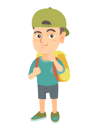 Thoughtful little boy in a cap thinking and holding finger on his chin. Caucasian little boy with school bag thinking. Vector sketch cartoon illustration isolated on white background.