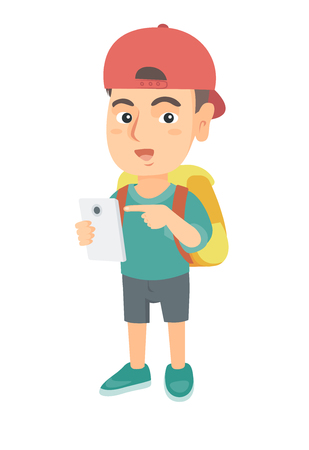 Caucasian boy with backpack using a cellphone. Little boy in a cap addicted to his cellphone. Smiling boy pointing at cellphone. Vector sketch cartoon illustration isolated on white background.