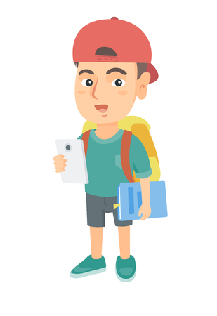 Caucasian smiling schoolboy with backpack using a cellphone. Little schoolboy in a cap holding cellphone and textbook in hands. Vector sketch cartoon illustration isolated on white background. Illustration