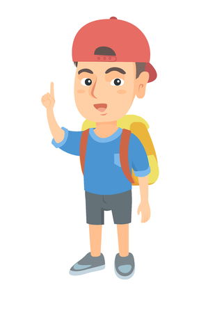Cheerful caucasian boy pointing his forefinger up. Full length of happy smiling boy in a cap pointing forefinger up. Vector sketch cartoon illustration isolated on white background. Vettoriali